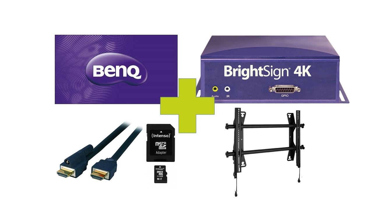 65 4K Digital Signage Bundle mit fixer Wandhalterung